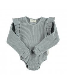 RIBBED LONGSLEEVE BODY WITH FRILLS GREY JERSEY