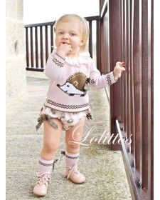 BABY GIRLS PINK SWEATER AND BLOOMERS LOLITTOS ESPINETE
