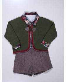 BOY 3 PIECES SET. SHORT, BLOUSE AND CARDIGAN.