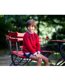 BOY RED SWEATER KIDS CHOCOLATE