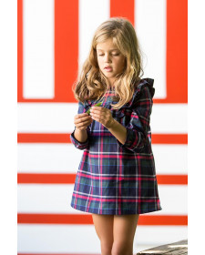 GIRL TARTAN DRESS KIDS CHOCOLATE