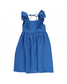 LONG DRESS WITH FRILLS INDIGO BLUE