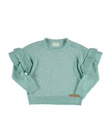 KNITTED SWEATER WITH FRILLS GRRENWATER