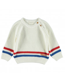 KNITTED CWEATER OFF WHITE AND STRIPES