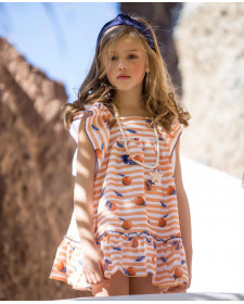GIRL ORANGES DRESS KID´S CHOCOLATE