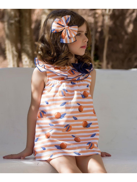 GIRL ORANGES DRESS WITH BOTTOM KID´S CHOCOLATE