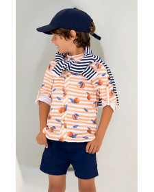 CAMISA Y SHORT DE NIÑO KID´S CHOCOLATE NARANJAS
