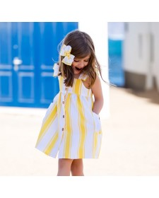 GIRL YELLOW STRIPES DRESS KID´S CHOCOLATE