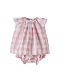 BABY GIRL PINK DRESS WITH BOTTOM NANOS