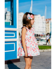GIRLS FLOWERS DRESS AND BLOOMERS TUL Y POMPON