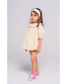 GIRL MULTICOLOR DRESS WITH BLOOMER TUL Y POMPON