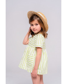 GIRL GREEN STRIPES DRESS WITH BLOOMER TUL Y POMPON