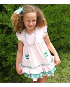 GIRL PINK DRESS LOLITTOS GIRAFFE