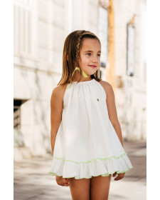 GIRL DRESS WITH BLOOMER TUL Y POMPON