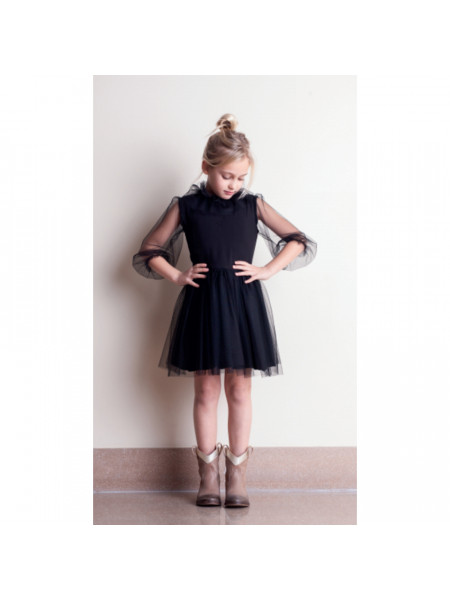 GIRL TULLE BLACK DRESS TOCOTO