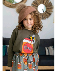 GIRLS SWEATSHIRT AND SKIRT MON PETIT BOMBON