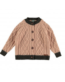 GIRLS CONTRAST KNITTED CARDIGAN TOCOTO VINTAGE