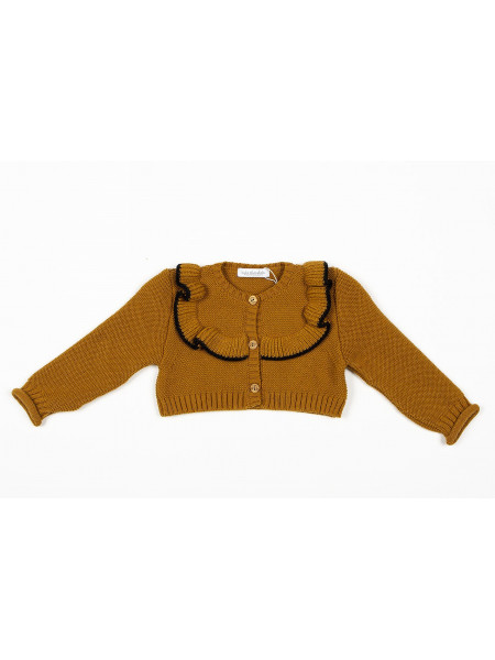 GIRL MUSTARD CARDIGAN KIDS CHOCOLATE