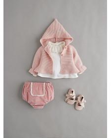 BABY GIRL PINK CARDIGAN NANOS