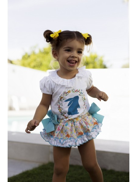 BABY GIRLS T-SHIRT AND KNICKERS RABBIT VAGALUZ