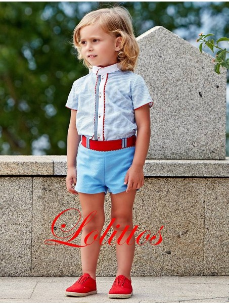 b35c95223 Conjunto pantalón y camisa para niño Lolittos colección Rosal